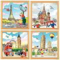 """Puzzles de  49 pièces """"Les villes européennes"""" - Lot de 4"""