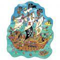 Puzzle contour 100 pièces, le bateau des pirates