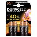 Piles Alcaline 1,5V LR06 Duracell Plus Power - Blister de 4
