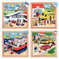 """Puzzles en bois de 16 à 49 pièces """"Les transports"""" - Lot de 4"""
