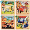 """Puzzles en bois de 16 à 36 pièces """"Les transports de service"""" - Lot de 4"""