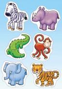 """Puzzles en carton de 2 pièces """"Les animaux de la jungle"""" - Boîte de 6"""