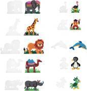 SACHET DE 10 PLAQUES PRÉFORMÉES POUR PERLES -  HAMA TAILLE MIDI - FORMES ANIMAUX SAUVAGES