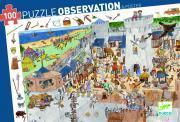 """Djeco - Puzzle d'observation de 100 pièces """"Le château-fort"""""""