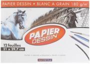 Papier dessin 180g 21x29,7 blanc - Pochette de 12 feuilles
