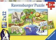 LOT 2 PUZZLES CRT 12P ANIMAUX ZOO