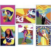 """Lot de 6 cartes à sable """"art"""""""