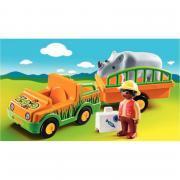 Vétérinaire avec véhicule et rhinocéros 1-2-3 - PLAYMOBIL