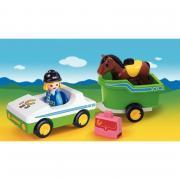 Cavalière avec voiture et remorque 1-2-3 - PLAYMOBIL