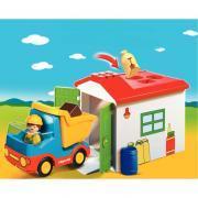 Camion avec garage et ouvrier PLAYMOBIL 1-2-3