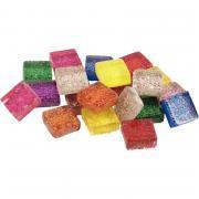 Pot de 500g mosaïques en verre pailletées forme carrée