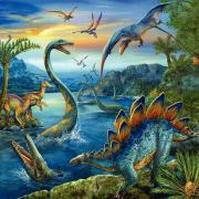 LOT 3 PUZZLES CARTONS 49 PIECES DINOSAURES