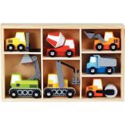 Coffret de 7 véhicules de chantier en bois