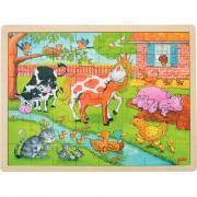 Puzzle à cadre en bois de 48 pièces La vie à la ferme