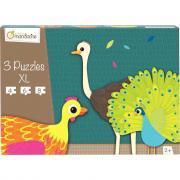 Puzzle contour animaux à plumes - Boite de 3