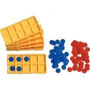 Réassort de boites + jetons pour l'atelier boites à nombres / ref 33464