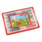 Feutres TRIO A-Z - Pointe fine - 12 couleurs assorties - Schoolpack de 144