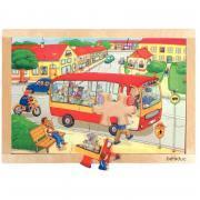 Beleduc - Puzzle à cadre en bois de 24 pièces - Le bus de ville