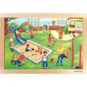 Beleduc - Puzzle à cadre en bois de 24 pièces - L'aire de jeux