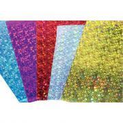 Feuilles de papier carton holographique - 195g - 35x50 cm - Pochette de 10