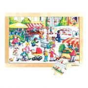 Beleduc - Puzzle à cadre en bois de 24 pièces - Le marché
