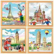 """Puzzle de  49 pièces """"Les villes européennes"""" - Lot de 4"""