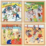 "Puzzles de  64 pièces ""Les sports"" - Lot de 4"