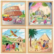 """Puzzle de  81 pièces """"Merveilles du monde"""" - Lot de 4"""