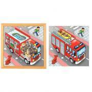 """Puzzle à 2 niveaux """"Camion de pompier"""""""