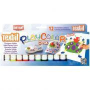 Boite de 12 sticks de gouache textile, 12 couleurs assorties