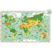 """Djeco - Puzzle 200 pièces """"le tour du monde"""""""