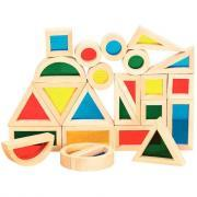 Bloc formes géométriques en bois - Boite de 24