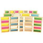 Briques colorées en bois - Carton de 36