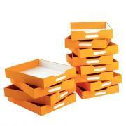 Bacs de rangement oranges - Petit modèle - Lot de 12