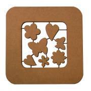 Cadres en bois ( par 6 ) + 7 motifs cœur