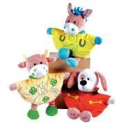 Doudou Marionnette animaux - 1 vache - 1 chien - 1 cheval