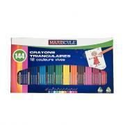 Classpack de 144 crayons de couleur triangulaires pointe moyenne assortis.