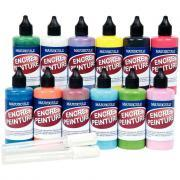Encre peinture + 2 marqueurs vides offerts - Lot de 12 flacons de 100ml