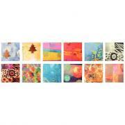 Papier déco pour collage, format : 32x40 cm, 12 motifs assortis - Pochette de 96 feuilles