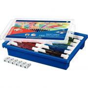 Classpack de 288 crayons de couleur Noris colour 185 assortis dont 24 gratuits + 6 taille-crayons en métal 1 usage offerts