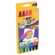 Pastels à l'huile Bic Kids hexagonaux coloris assortis - Etui de 12