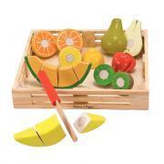 Plateau de fruits à couper en bois, 18 pièces