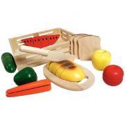 Plateau d'aliments à couper en bois, 27 pièces