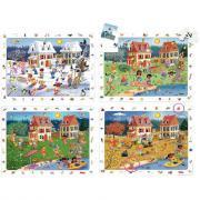 """Puzzle d'observation soft de 24 pièces """"Les saisons"""" - Lot de 4"""