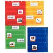 Pochettes en nylon magnétiques coloris assortis - Lot de 4