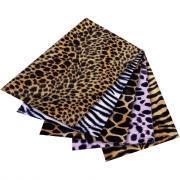 Feuilles tissu pelage safari adhésif, format : 50 x 70 cm, aspect peluche - Lot de 5