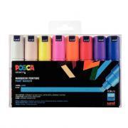 Marqueurs pointe large biseautée 8 mm, couleurs assorties - Pochette de 16