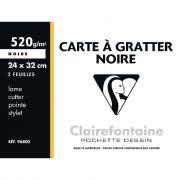 Carte à gratter 24x32 cm couleur noir - Pochette de 2 feuilles