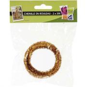 Echeveau de 10 M de chenille (2 x 5 M), diamètre 6 mm, couleur Or