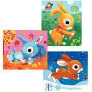 3 puzzles PRIMO, les lapins, en carton
